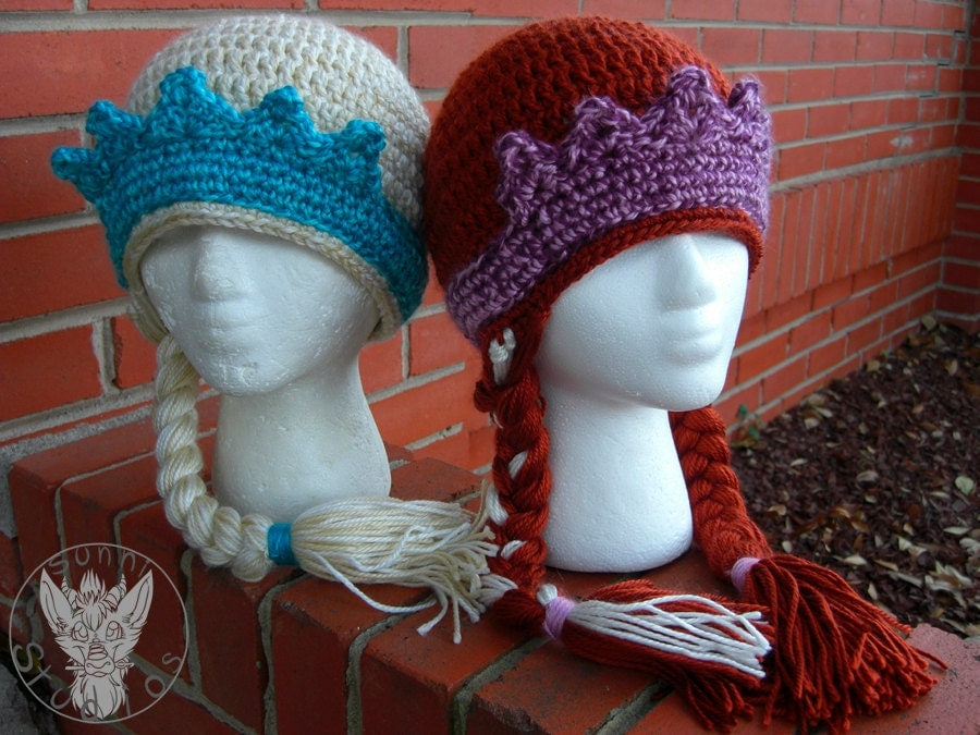 Crochet Hat Pattern For Elsa : Crochet Elsa and Anna hats