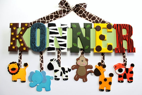 Items Similar To Jungle Animal Baby Name Sign Hand Painted