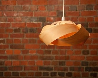 Wood veneer pendant light shade - Wrap