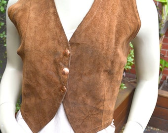 Vintage women's 1970s Cowboy leather Vest Jacket Size AUS 8 Size 6 US