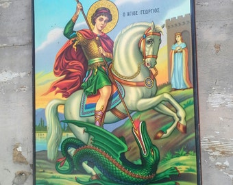 Saint George,  Christian Orthodox Icon, Greek Religious Art, Christian Wall Decor