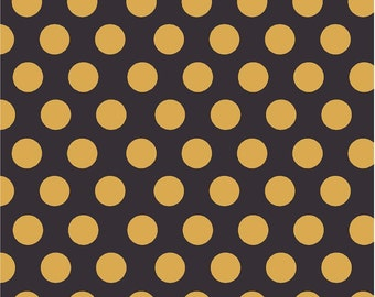 Black with gold dots craft  vinyl sheet - HTV or Adhesive Vinyl -  large polka dot pattern HTV723