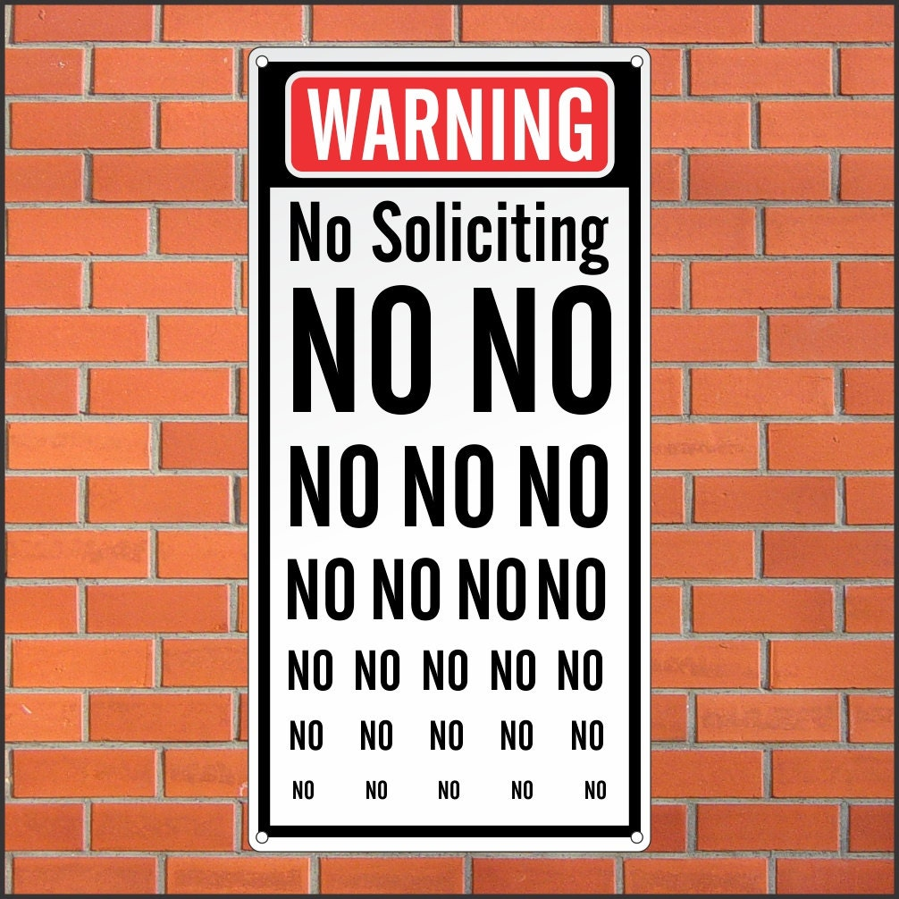 It is a photo of Influential Funny No Soliciting Sign Printable