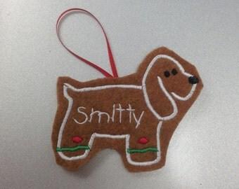 Cocker Spaniel Personalized Felt Gingerbread or Angel Ornament