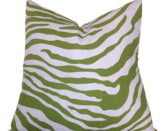 "Decorative Pillow Cover- Linen Throw Pillow Cover-Designer print ""Morocco Zebra"" Green on Ivory-100% Linen"