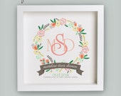 Floral Monogram Birth Announcement – Peach & Marigold – Personalized Baby Girl Nursery Art