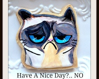 Custom Decorated Grumpy Cat Sugar Cookies