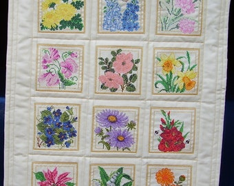 Cross Stitch Flower Quilt - mini