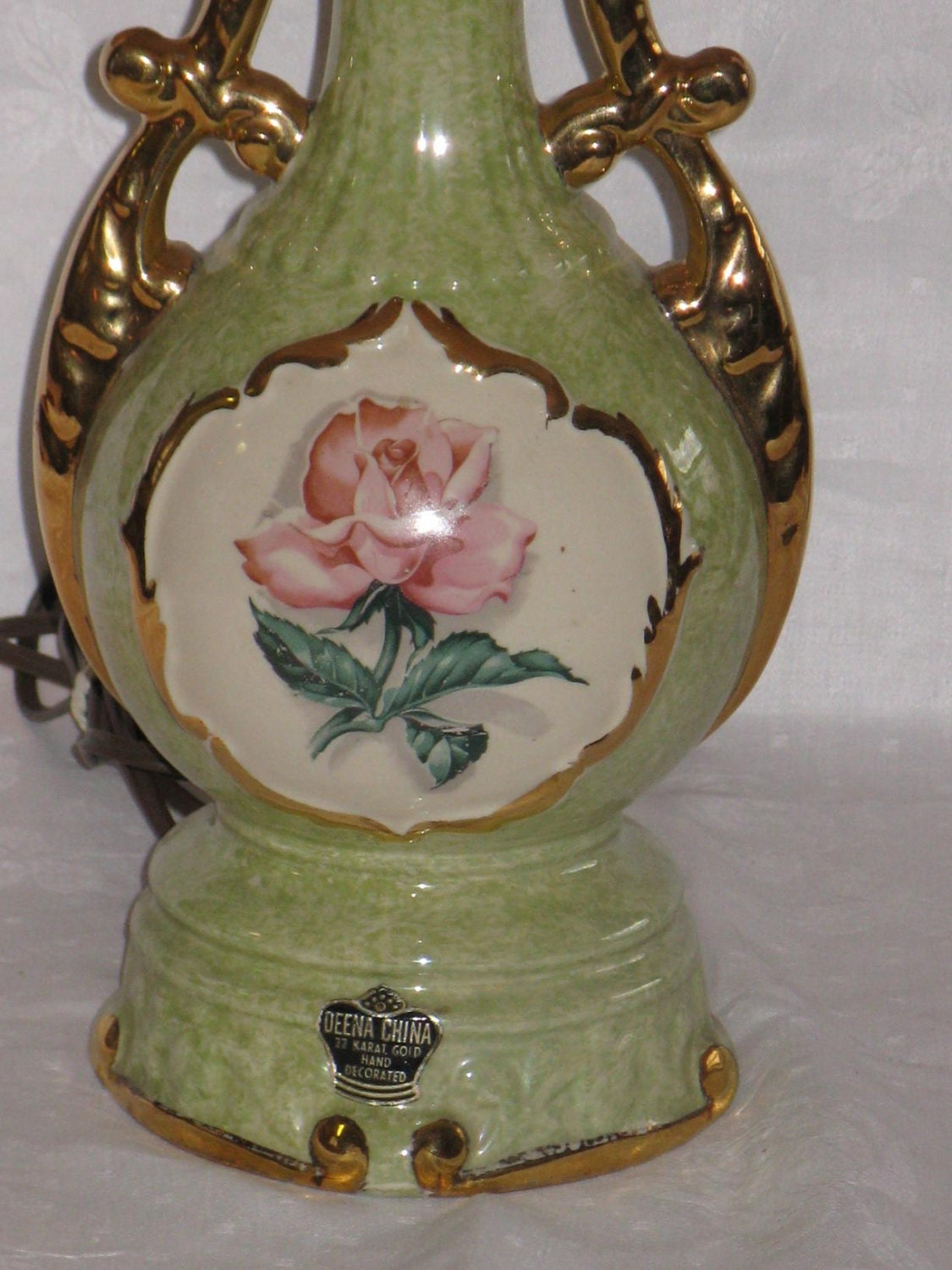 Vintage Antique Deena China Hand Decorated Green Table Lamp