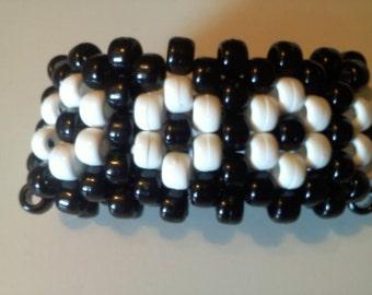 Black and White Daisy Kandi Mini Cuff Bracelet  Ready for EDC
