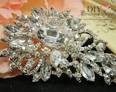 Huge Rhinestone Brooch Embellishment for Wedding Brooch Bouquet Crystal DIY Wedding Bridal Accessories Pin Back 85mm 219380