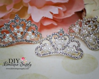 Princess Crown Pearl Crystal Crown Flat Back Rhinestone Embellishment Flatbacks Headband Supplies - flower centers Scrapbooking 35mm 564038