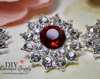 RED Crystal buttons RED Rhinestone buttons Metal Embellishments Bridal supplies invitations hair bow centers flowers centers  24mm 702031