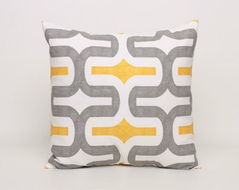 Yellow and Gray Throw Pillow Cover, Yellow Cushion Cover 18x18 Pillow Cover Yellow Gray Retro Pillow Accent Pillow Yellow Gray Sham