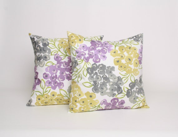 Items similar to 22x22 Throw Pillow Set of 2 Gray Purple and Yellow Floral Pillow PAIR 22x22 ...
