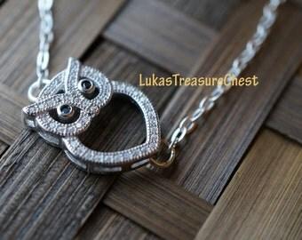 Sterling Silver Sideways Owl Charm Bracelet, Black & Clear Cubic Zircona, CZ, Owl Charm, Owl Bracelet, Weddings, Bridesmaids, Valentine