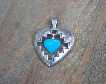 SALE // Sterling Silver Navajo and Turquoise Heart Pendant / Navajo Jewelry / Silver Pendant / Heart Pendant