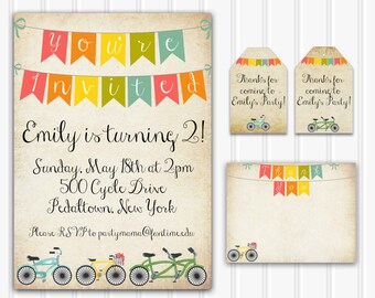 Printable Vintage Bicycle Set, Personalized Bicycle Birthday Party Kit INSTANT DOWNLOAD printable bicycle invitation rustic bike party decor