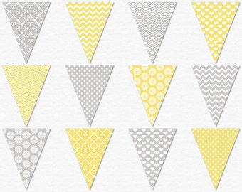 Printable Gray and Yellow Bunting Flags, Yellow Banner Clipart, Pattern Flag Garland, Polka Dot, Yellow Chevron, Floral, Digital Pennant