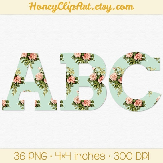 Pink And Mint Floral Alphabet Clipart Vintage By HoneyClipArt