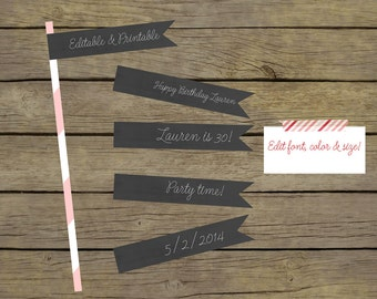 Editable Chalkboard Straw Flags / Cupcake Toppers / Toothpick Flags / Instant Download
