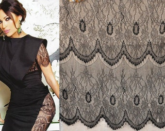 Fabulous High Quality Very Very Soft Waves Edge Black Eyelash Lace Fabric For Dress