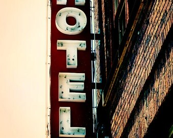 Urban History Vintage Retro Hotel Sign Photography Art Print, Vintage Neon Hotel Sign, Rust And Brown Tones Wall Art Decor, Noir Hotel Sign