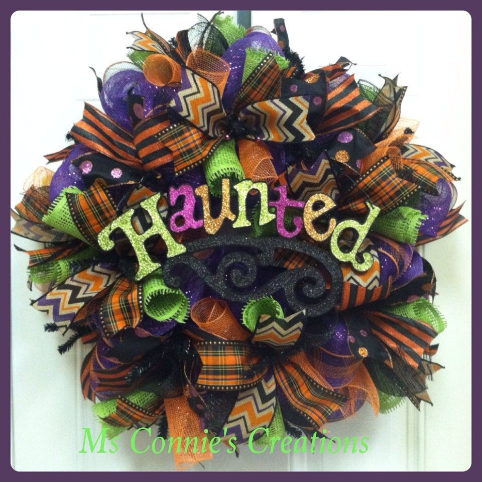 halloween deco mesh wreath by creationsbymsconnie on etsy. Black Bedroom Furniture Sets. Home Design Ideas