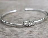Sterling Silver Bridesmaid Bracelet, Infinity Bracelet , Bridesmaid Jewelry Set or Single, Tie the Knot Bracelet, Bridesmaid Gift