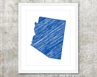 State of Arizona Art Print - Custom State Poster - Royal Blue - Modern Minimalist Wall Art