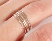 Set of Five, Sterling Silver, Hammered Stack Ring, Textured Ring, Thin Ring, Skinny Ring, Midi