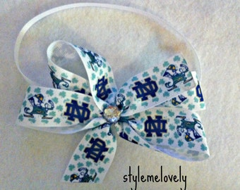 Notre Dame Baby Girl Boutique Bow Elastic Headband