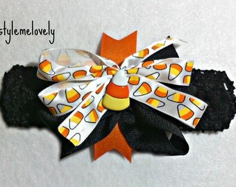 Candy Corn Baby Girl Boutique Bow Crocheted Headband