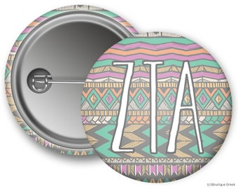 ZTA Zeta Tau Alpha Aztec Sorority Greek Button