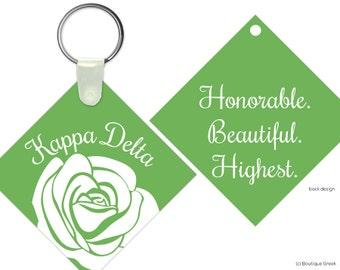 KD Kappa Delta Rose Motto Keychain Sorority