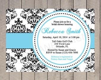 Bridal Shower Invitation - Black and White Damask, Blue, Wedding Shower Invitation, Printable - 078