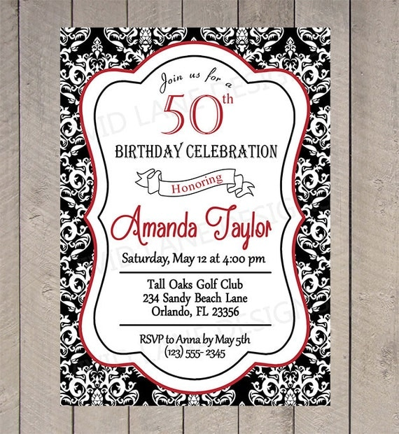 80th Wedding Anniversary Gift Ideas : ... , 30th, 40th, 50th, 60th, 70th, 80th Black and White Damask, Red 6051