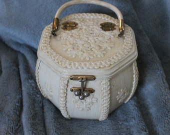 Vintage Box Octagon Purse,  Very Unique, Great Conversation Piece, Centerpiece, Decoration, It is Decorated Beautifully, Unique Closure NICE