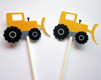 Construction Cupcake Toppers - Loader Tractor Cupcake Toppers