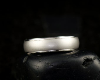 Ryan - Gentleman's Wedding Band in White Gold, 5.5mm, Sand Finish, Free Shipping