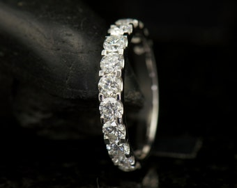 Jacqueline - Diamond Wedding Band in White Gold, Round Brilliant Cut, Shared Prong with Closed Baskets, 5/8 Eternity Style, Free Shipping