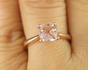 Petite Tapered Trellis Engagement Ring, 7x7mm 1.30ct Cushion Cut Morganite, 1-1.8mm Tapered Band, Classic Cathedral Solitaire, Talia Chloe