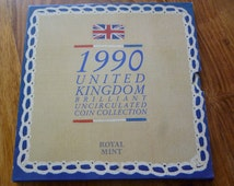 United Kingdom Royal Mint 1990 Uncirculated Coin Collection.