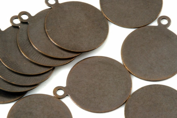 60 Pcs Antique brass Tone Brass 16 mm Circle tag Charms ,Findings 89AB-54