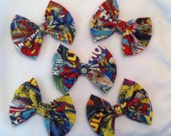 Pack of 5: Marvel Superhero Medium Sized Fabric Hair Bows, Avengers, Comics, Comic Book, Iron Man, Thor, Hulk, Captain America, Wolverine