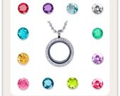 Floating charms for glass memory lockets - Round Birthstones
