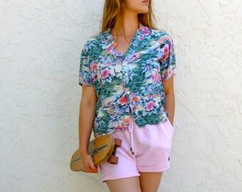 Vintage 60's Mona Loa Button Up // Hawaiian // hawaii top, Vintage blouse, vintage button up, womens blouse, surf tee