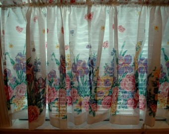 Vintage Shabby Curtains Cottage Chic Rose Floral Panels Cafe Window Covering