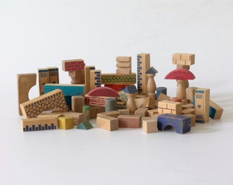 vintage toy blocks of the German 50s blue red colorful