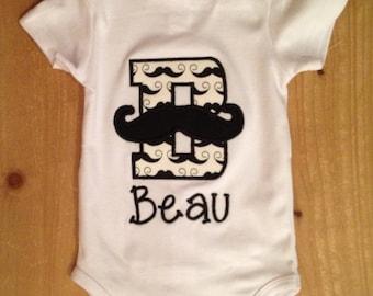 Mustache Initial Shirt or Baby Bodysuit